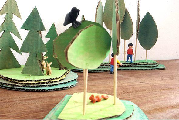 bosque wood wald spiel juego game cardboard karton carton kids craft manualidad basteln kinder ninos miniatura mini playmobil