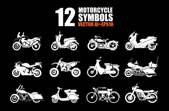 Motorcycle Icons set by@Graphicsauthor