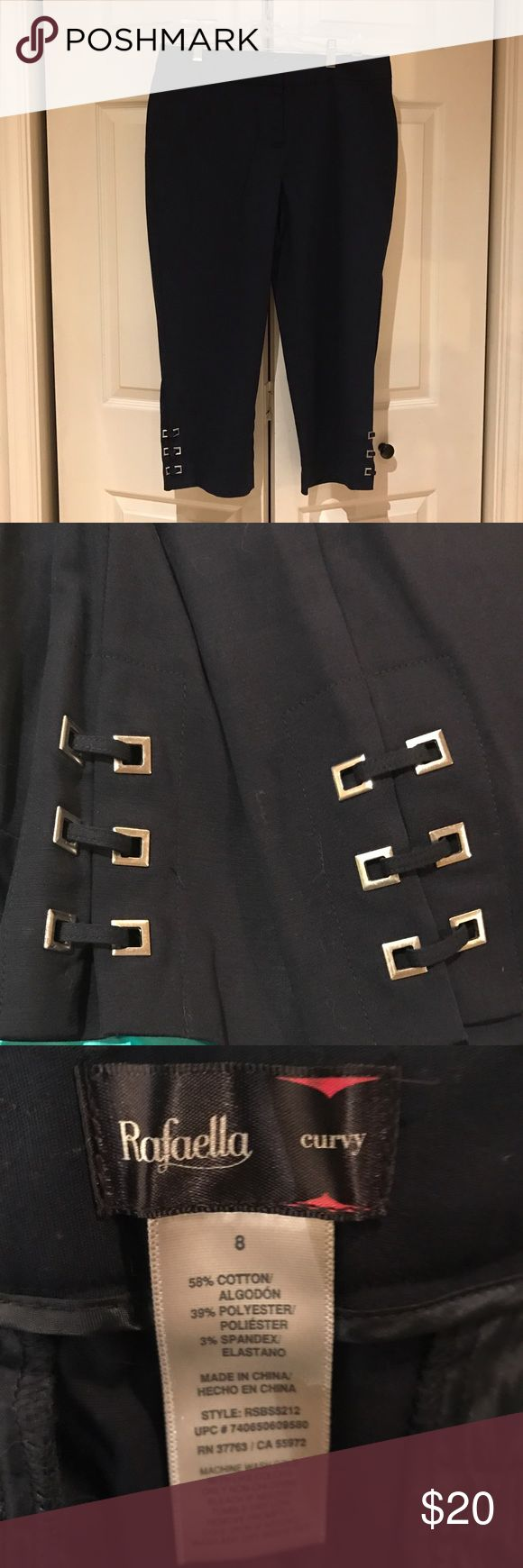 Rafaella capris with detailing Women's navy capris with metal detailing at bottom Rafaella Pants Capris