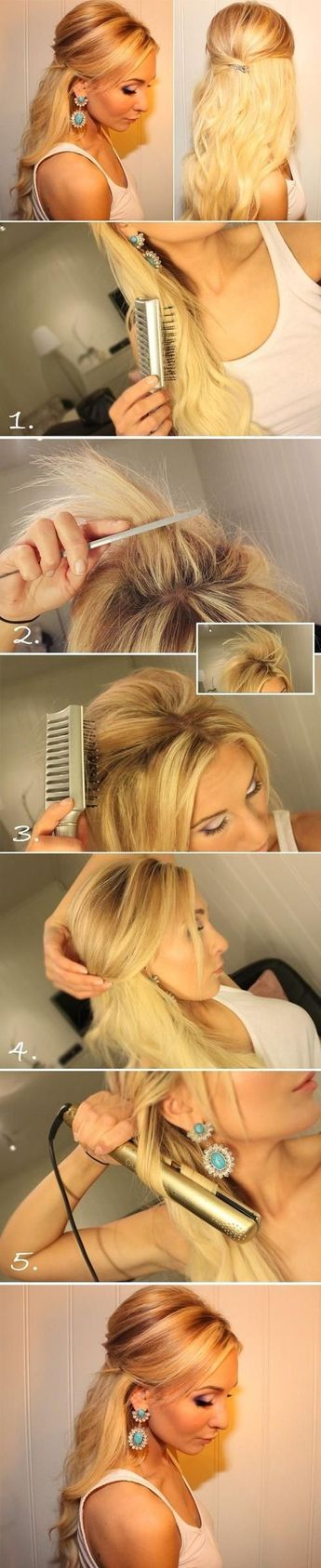 Teased Half Up Half Down Hairstyle Tutorial: Easy Prom Hairstyles - PoPular Haircuts