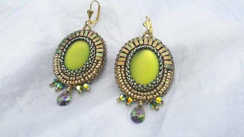 Lime bead embroidery earrings
