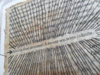 Embroidery on paper - book quote