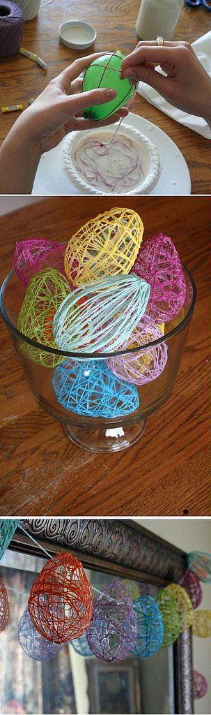 Wrap string around a blown-up water balloon, coat it with starch glue, and set to dry to create these pretty Easter eggs.  Source: crafty endeavor
