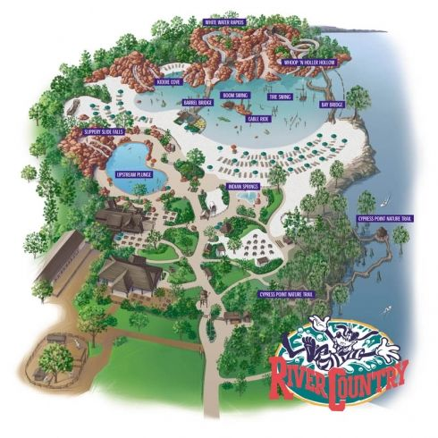 River Country Map when the watedpark was atill in operation via themeparktourist.com