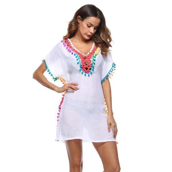 Beach Dresses Summer Bohemian Pompom Coverup Fringe Beach Cover Up Outfits For Beach Outfits For Beach Summe Beachwear For Women Swimwear Dress Dress Cover