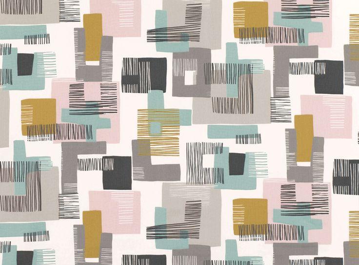 L'imprimé abstrait géométrique avec de blocs de couleurs unies doublés avec les lignes graphiques. Ces formes audacieuses ont une simplicité et une joie animée. Etta est imprimé sur le sergé en coton afin de mettre en valeur la nature moderne du dessin. L'imprimé Etta à été transmis sur le revêtement mural et est présent dans la collection Xander Wallcoverings. L'imprimé contemporain Tissus d'ammeublement, imprimés, rideaux & draps.