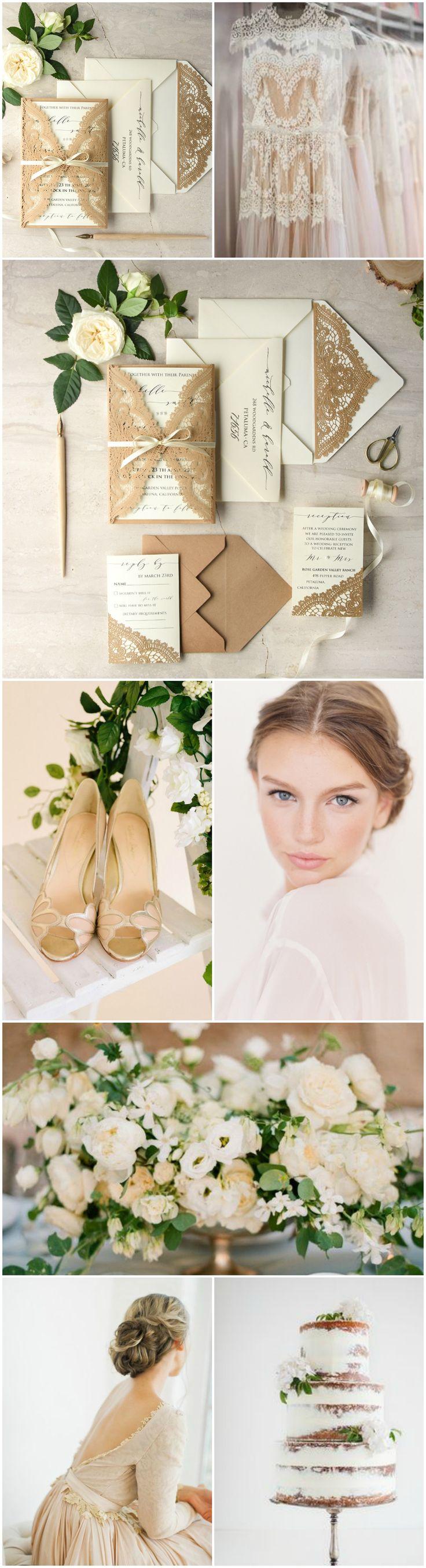 Nude & Neutrals Wedding theme #weddingtrend2017 #nude #neutrals #romantic #weddingideas #weddingcolors #rustic #boho #lasercut #weddinginvitations