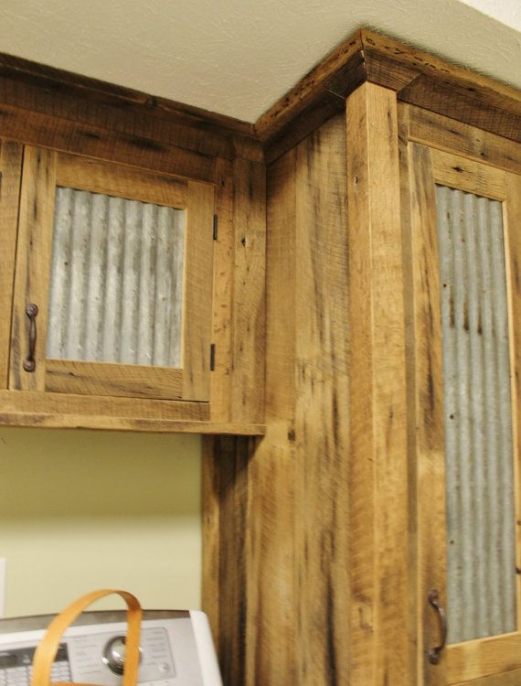 Barn Wood Kitchen Cabinet Doors Rustic Tall Storage- Reclaimed Barn Wood Cabinet W/tin