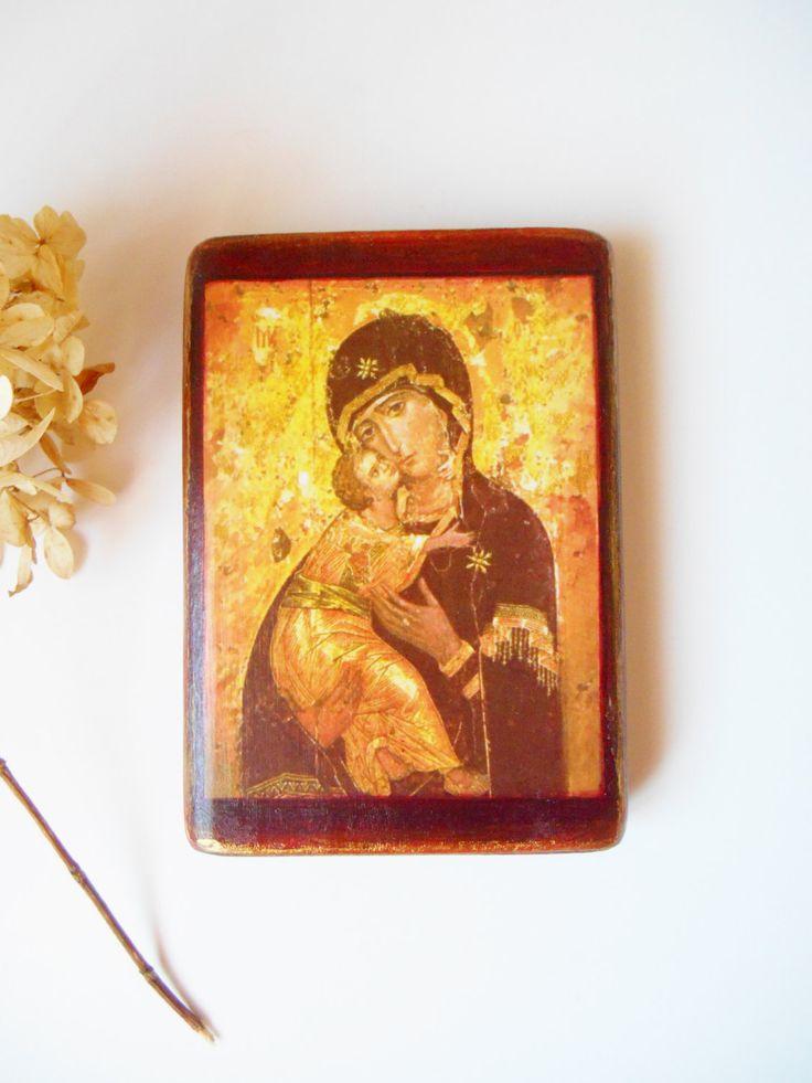 Byzantine Icon Theotokos of Vladimir Handmade Decoupage Orthodox Icon Antique Image Sacred Icon Russian Icon Big Icon 3 1/3 x 4 3/4 Wooden by SpiritualGiftGallery on Etsy