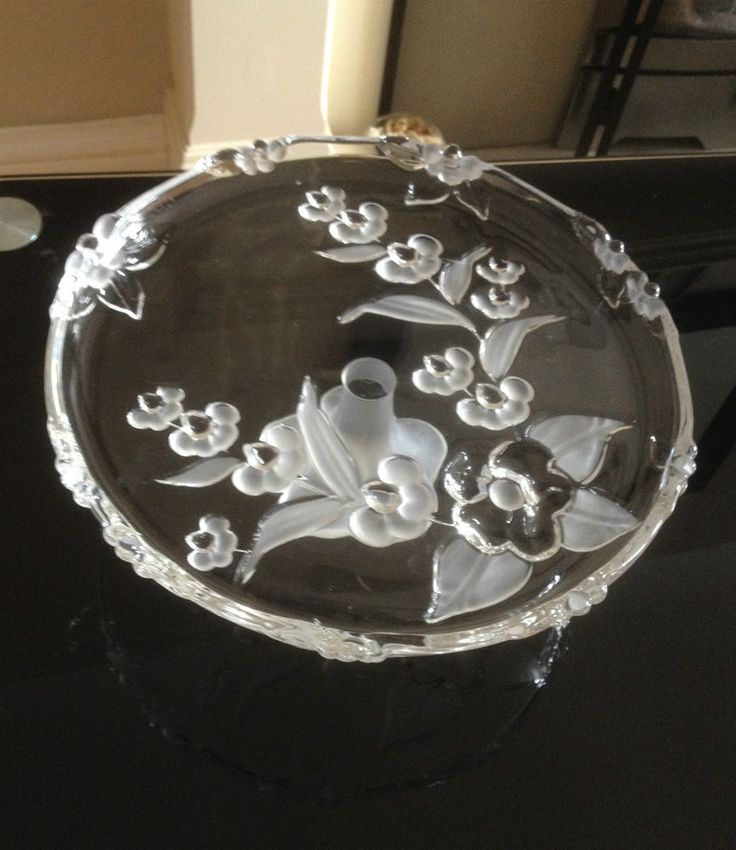 Napoli Floral Circular Cake Stand 10  - Frosted and Clear - Soga Glass Co Japan