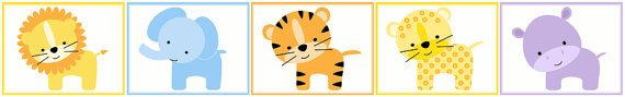 Jungle Zoo Animals wall border decals for baby nursery or kids room decor #decampstudios