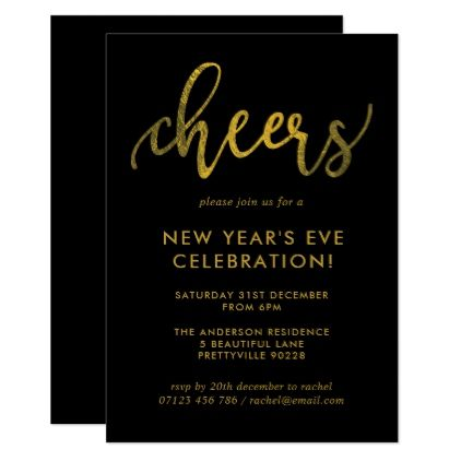 The 13 best invitations images on pinterest new years eve party gold script cheers new years eve party invitation stopboris Image collections