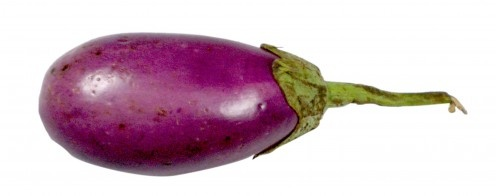 A picture (photo) of a brinjal. Brinjals are purple egg shaped fruits eaten as vegetables. a brinjal is also called as egg plant.