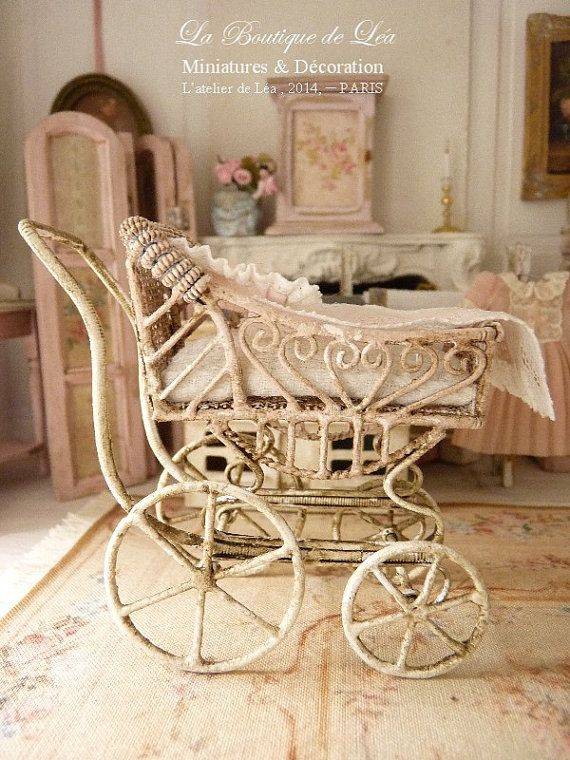 Pink pram, sweet nursery, French lace, Accessory for a French dollhouse in 1:12th scale on Etsy, $54.50