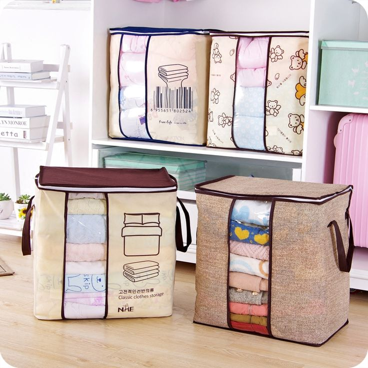 2017 new Non-woven Portable Clothes Storage Bag Organizer 45.5*51*29cm Folding Closet Organizer For Pillow Quilt Blanket Bedding