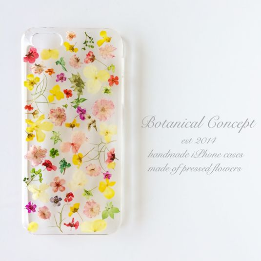 押し花iPhone5/5s/6ケース ビタミンカラーの小花柄