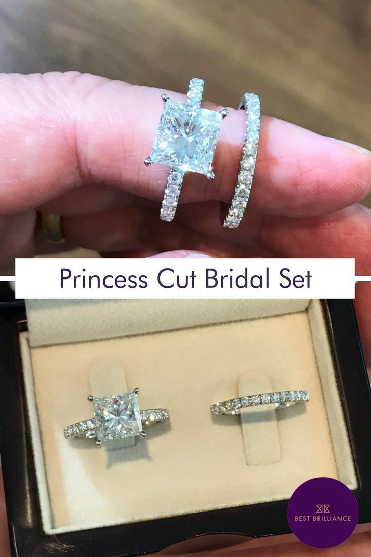 Unique 2.48 Carat F SI1 Princess Cut Diamond set in a 14K White Gold Ring including additional 0.48 Carat Diamonds on the sides & a Matching Wedding Band with 0.54 Carat - Total Weight of 3.50 Carat of Diamonds for the entire bridal Set. Explore our simple ring sets for brides at https://bestbrilliance.com/engagement-rings/bridal-set/3-5-ct-princess-diamond-engagement-ring-wedding-band-set-14k-white-gold-j99931-html.html