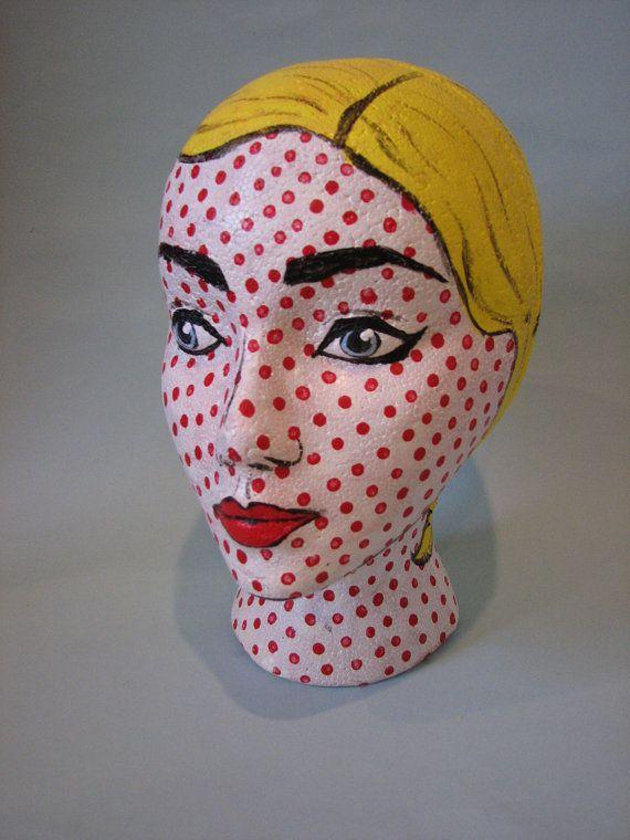Pop Art Comic Foam Head by RainyDayMarket on Etsy, $25.00