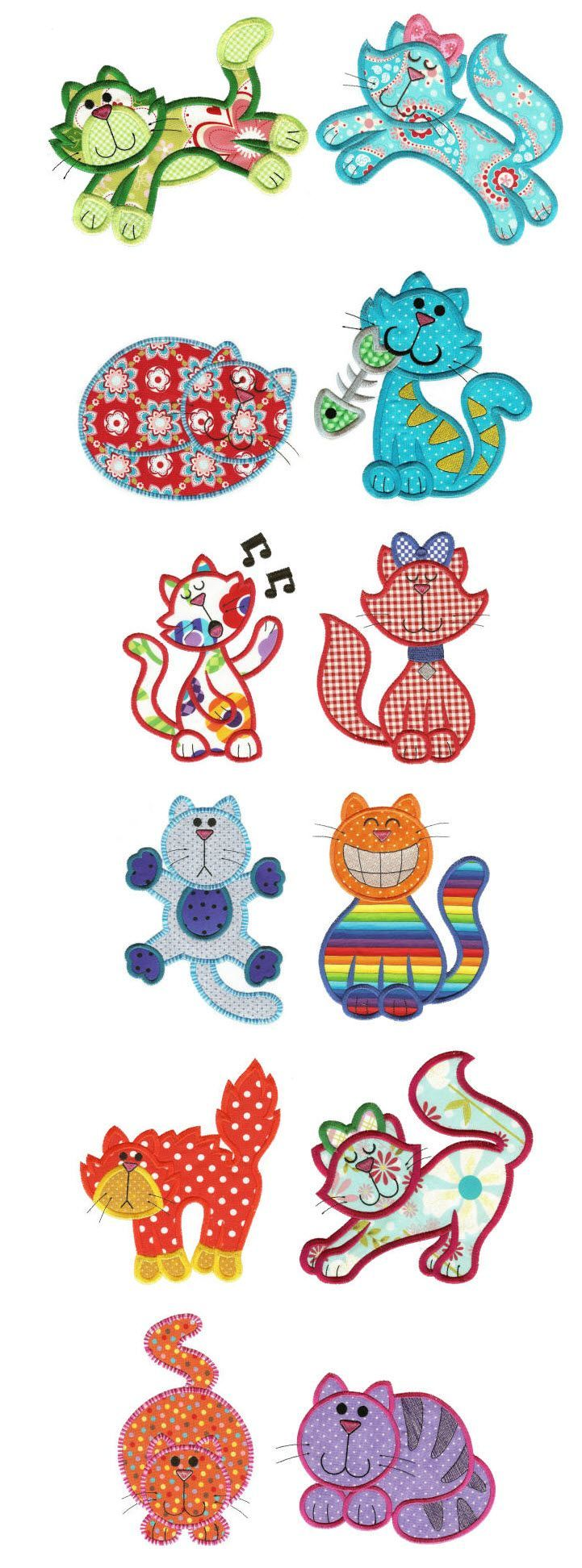Embroidery | Free Machine Embroidery Designs | Crazy Cats Applique: