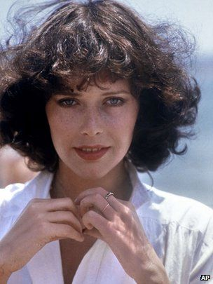 """Dutch actress Sylvia Kristel, who starred in the 1974 erotic French film """"Emmanuelle,"""" has died aged 60. (via BBC; photo via AP)"""