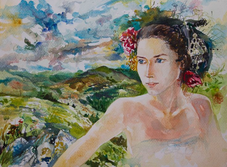 Bulgarian girl, mountains, woman, watercolor, tradition