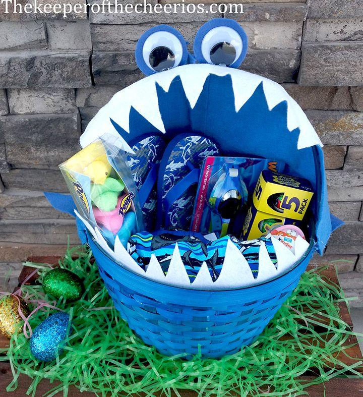 Shark Easter Basket Boys Easter Basket Homemade Easter Baskets Easter Baskets