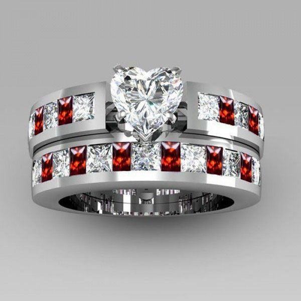 Heart Cut Created White Sapphire With Ruby Sidestone