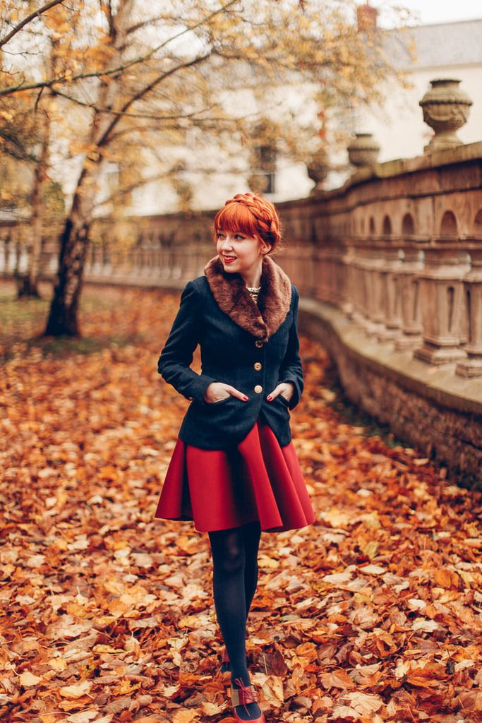 """Dutch crown braid on red auburn hair, cute red skater skirt, fitted tailored blazer with fluffy fir collar. This outfit is so cosy and cute. """"A clothes horse"""""""