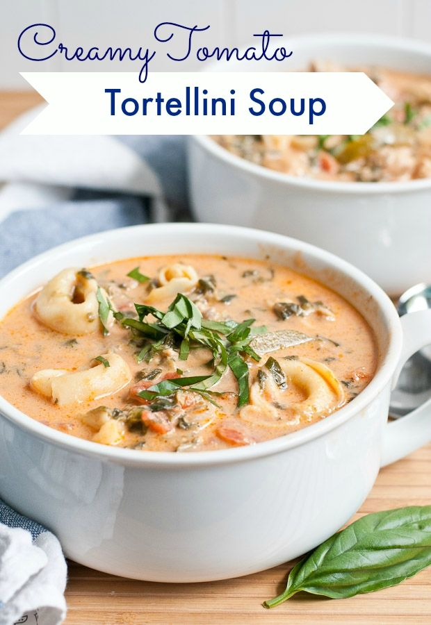 Creamy Chicken Sausage, Tomato, and Tortellini Soup is an easy one pot meal loaded with spinach, zucchini, garlic, and basil!