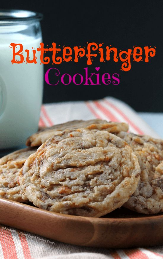 Butterfinger Cookies - Butterfinger candy bits and cookies all in one? Yes, please! These are so soft and easy to make. / myfindsonline.com