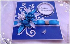 Открытка День рождения Квиллинг Дуэт открыток синяя и красная Бумага Бумажные полосы Бусины Кружево Сутаж тесьма шнур фото 2