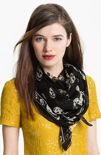 Alexander McQueen 'Skull' Chiffon Scarf    white or black     http://shop.nordstrom.com/s/alexander-mcqueen-skull-chiffon-scarf/3188681?cm_cat=datafeed_ite=alexander_mcqueen_'skull'_chiffon_scarf:367208_pla=scarves/wraps/ponchos:women:scarves_ven=Google_Product_Ads:referralID=fd0d81cd-ac7b-11e2-a969-001b2166c2c0