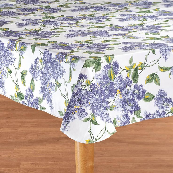 Miles Kimball Fresh Lilac Premium Vinyl Table Cover lends charm to any tabletop in substantial 4-gauge vinyl.