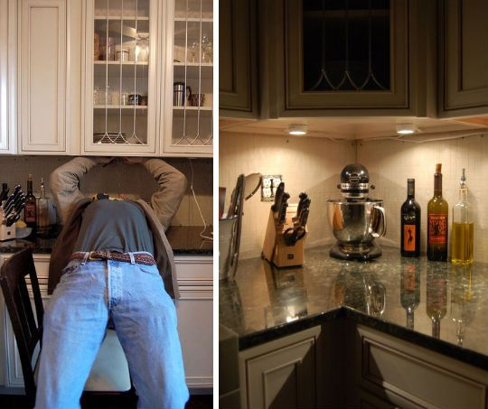 Ignoring the weird picture of the person on the left, I love having lights under the cabinets
