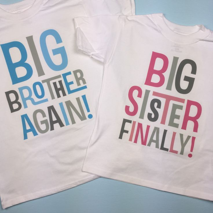 Set of two - big brother again and big sister finally tshirts in blue and grey and pink and grey.