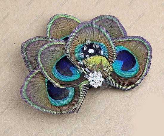 comprar de estilo europeo pavo real plumas de moda el pelo clips carpeta lado pendientes de