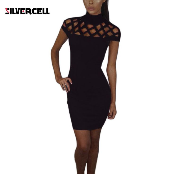 Autumn High Neck Hollow Out Evening Party Mini Dress Sexy Short Sleeve Top Women Bodycon Bandage Dresses Plus Size XL