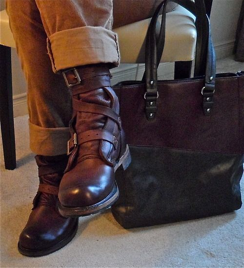Isaac tanker boots, Nine West tote…