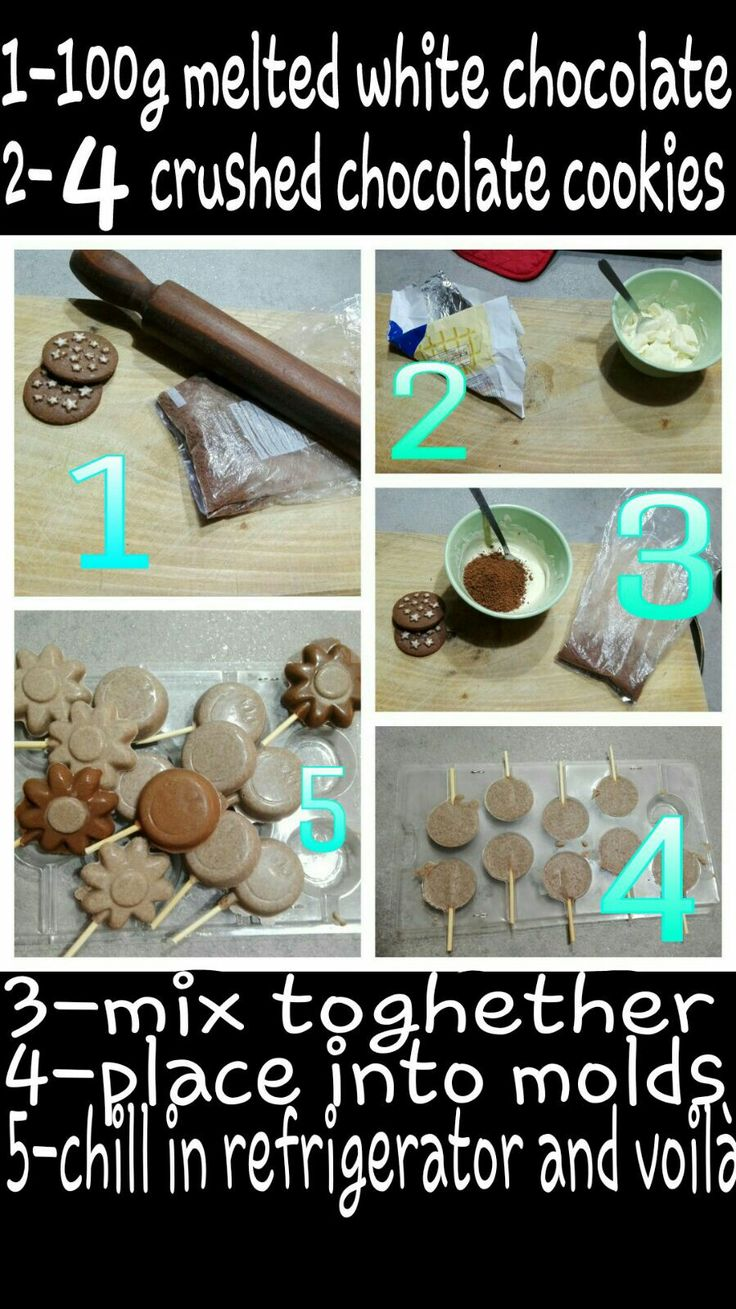 Chocolate  lollipops :-)/great for a party or as a snack for kids Ps: use dark or milk chocolate and other cookies (vanilla,almond...) for different flavors