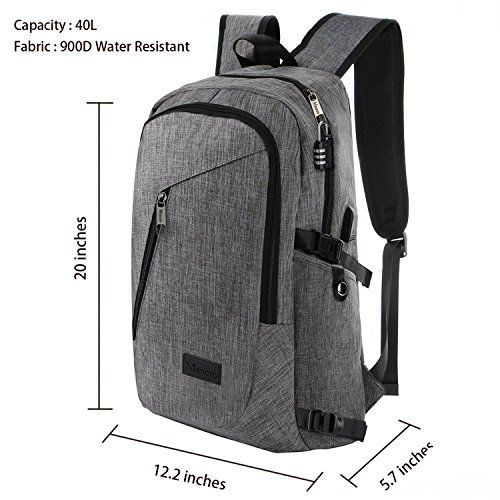Laptop Backpack OMOUBOI Anti-Theft College Backpack with USB Charging Port 15.6 Inch Computer Backpacks for Women Men Black Blue Casual Hiking Travel Daypack