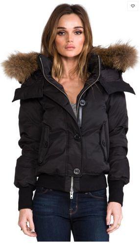 AUTH-Black-MACKAGE-VALERIE-Bomber-Peach-Lux-Down-Fur-Hood-Jacket-XS-XSMALL-680