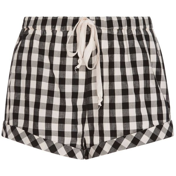 Solid & Striped Gingham Drawcord Shorts (410.380 COP) ❤ liked on Polyvore featuring shorts, pajamas, pijama, swimsuit, black, striped shorts, draw string shorts, short shorts, drawstring shorts and stripe shorts