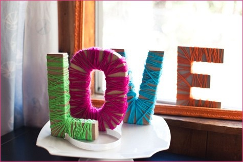 yarnDecor, Crafts Ideas, Crafty, Yarns Wraps Letters, Colors, Yarns Letters, Bridal Shower, Letters Wraps, Diy