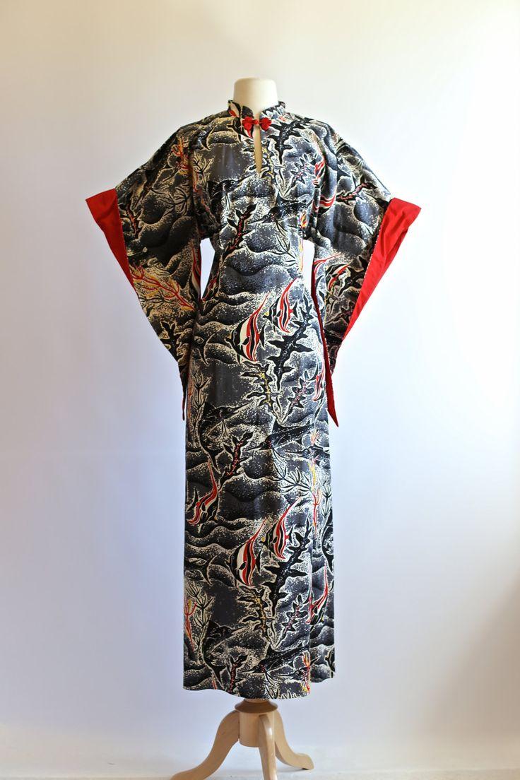 Vintage 40s Pake Muu Hawaiian Dress ~ Vintage 1940s Novelty Print Pake Mu  Size Extra Large by xtabayvintage on Etsy