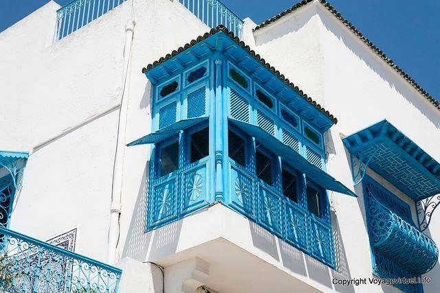 Sidi Bou Said, moucharabieh traditionnel - Tunisie