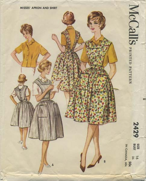 Vintage Apron Sewing Pattern | McCall's 2429 | Year 1960 | Bust 36 | Waist 28 | Hip 38