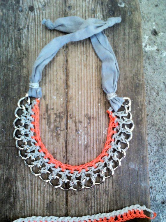 Orange neon crocheted metal chain collar necklace by bizeli, €25.00