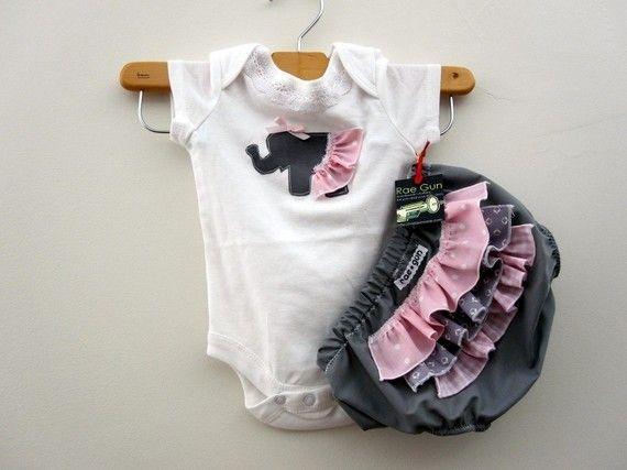 Bubble Gum Elephant -ruffle diaper cover set @Marissa Hereso Fischer | Rae Gun Ramblings $23.50