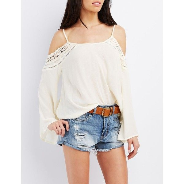 Charlotte Russe Crochet-Trim Cold Shoulder Top ($22) ❤ liked on Polyvore featuring tops, pristine, crochet trim top, sheer top, white bell sleeve top, charlotte russe and white cold shoulder top