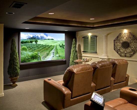 Media Room Rustic Tuscan Decor Design, Pictures, Remodel, Decor and Ideas